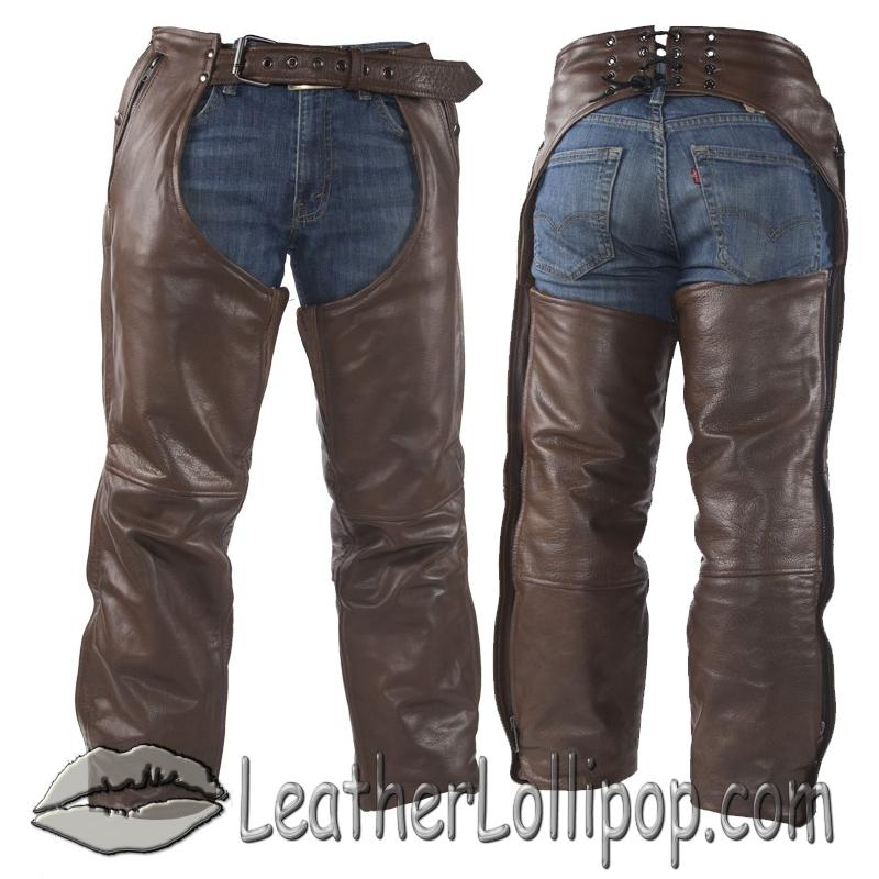 Mens or Ladies Unisex Brown Naked Leather Chaps with Stretch Thigh Panel - SKU C334-BRN-11-DL