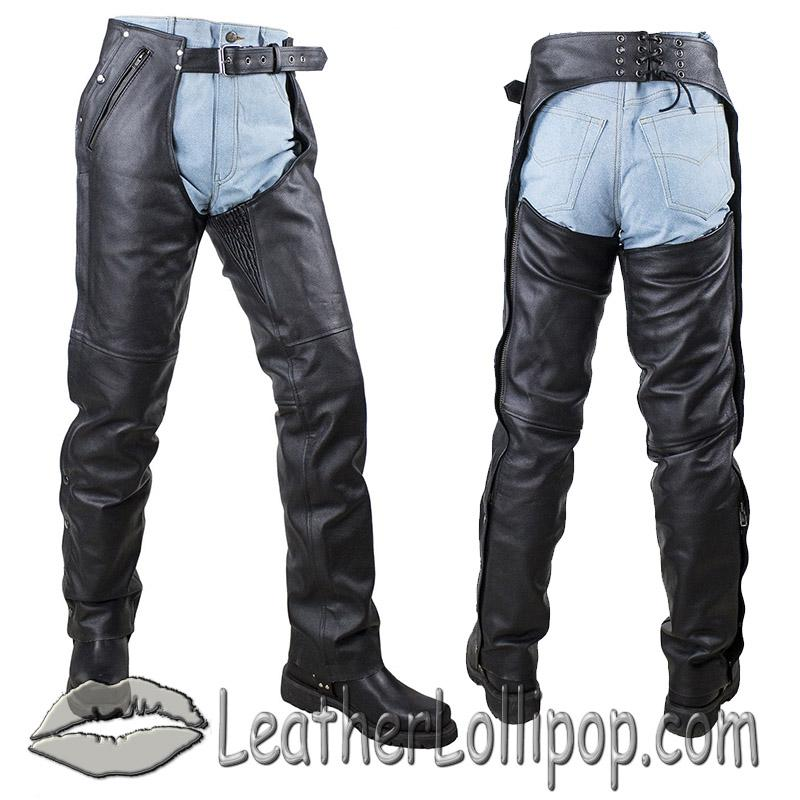 Mens or Ladies Unisex Leather Chaps with Stretch Thigh Panel - SKU C4334-04-DL
