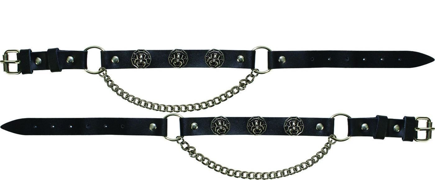 Pair of Biker Boot Chains - Spider In Web - SKU BC13-DL