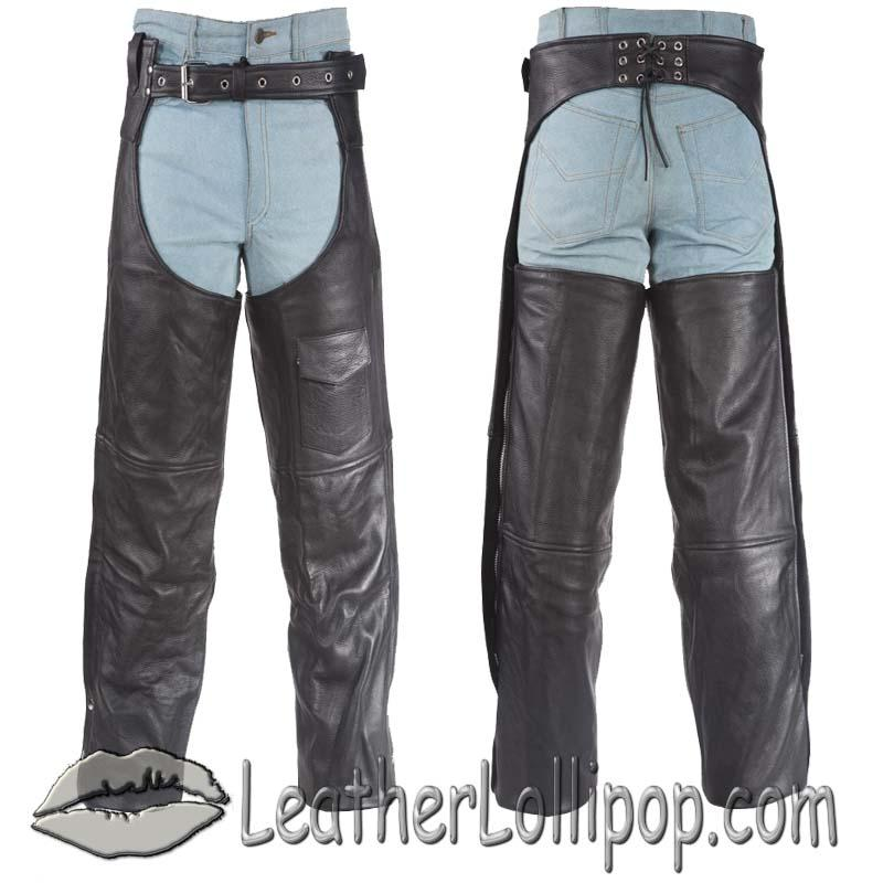 Plain Motorcycle Naked Leather Chaps for Men or Women - SKU C325-01-DL