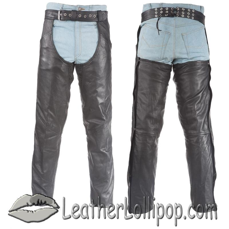Premium Leather Chaps With Thigh Stretch for Men or Women - SKU C332-01/11-DL