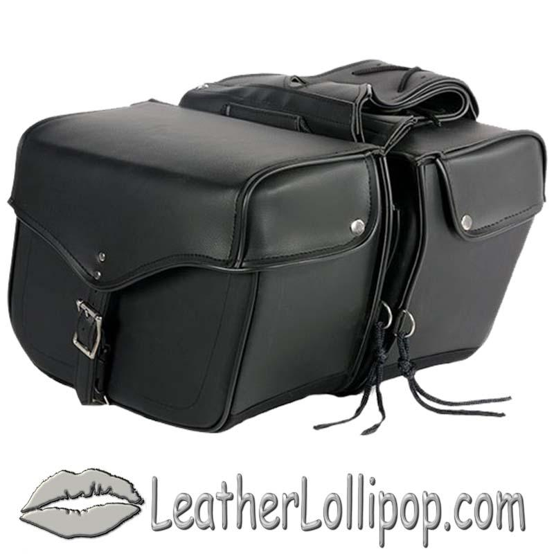 PVC Motorcycle Saddlebags Single Buckle Design - SKU SD1483-PV-DL
