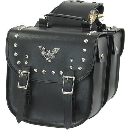 PVC Motorcycle Saddlebags With Eagle and Studs - SKU SD4070-PV-DL