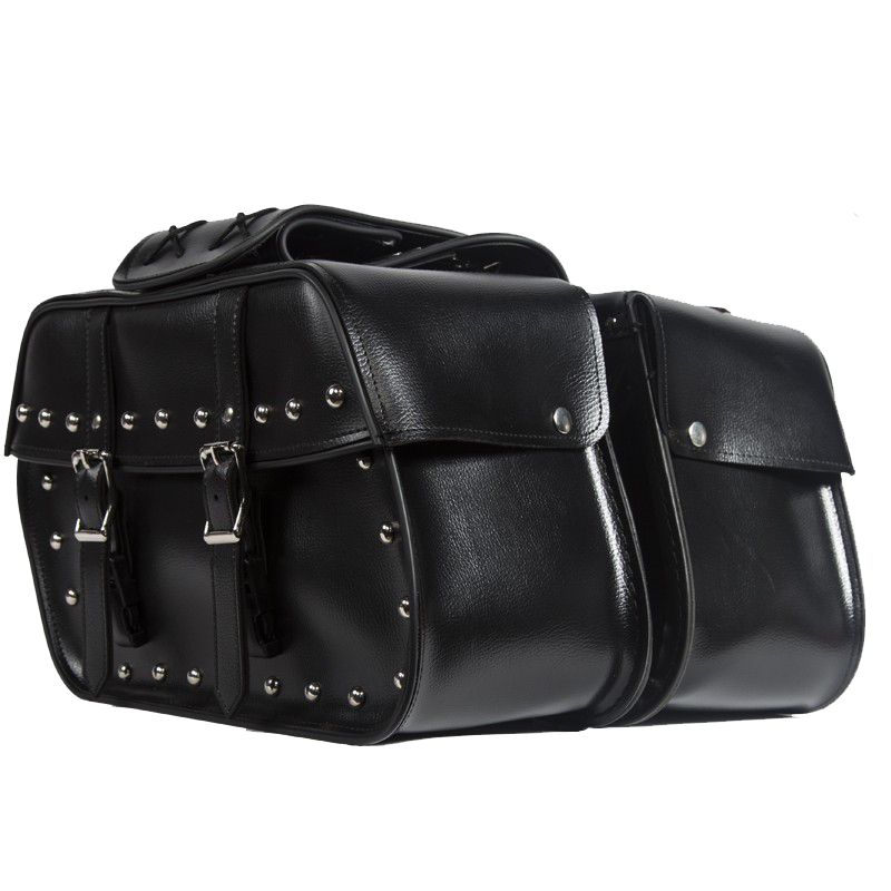 PVC Motorcycle Saddlebags With Studs - Biker Gear Bags - SKU SD4079-STUD-PV-DL