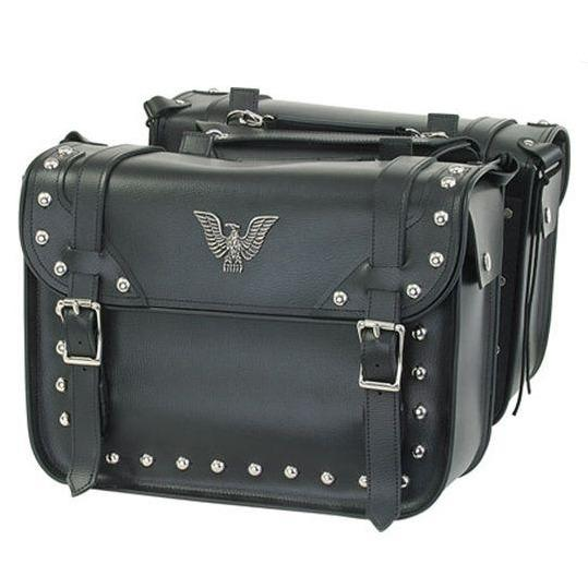 PVC Motorcycle Studded Saddlebags with Eagle - SKU SD4076-PV-DL
