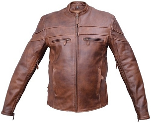 Men's Cafe Brown Touring Motorcycle Leather Jacket - SKU AL2077-AL