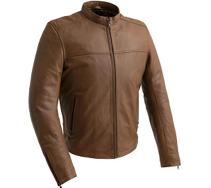 Grayson - Men's Leather Scooter Jacket - Oxblood or Dark Cognac - WBM2190-FM