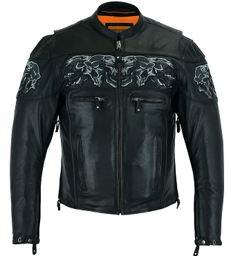 Racer Leather Jacket with Reflective Skulls and Concealed Carry Pockets - SKU MJ825-11-DL