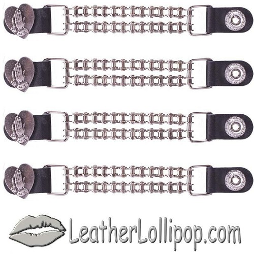 Set of Four Praying Hands Inside Heart Vest Extenders with Chrome Motorcycle Chain - SKU LL-AC1062-BC-DL