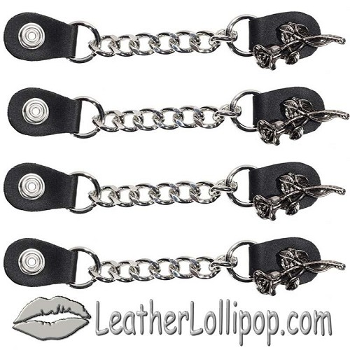 Set of Four Rose and Stem Vest Extenders with Single Chrome Chain - SKU LL-AC1070-LL-DL