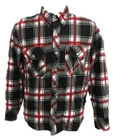 UNIK Men's Black and Red Flannel Motorcycle Shirt - TW136-01-UN