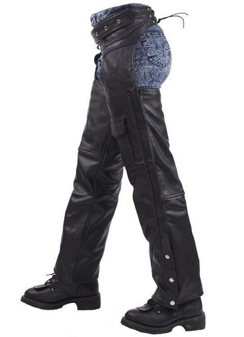 Unisex Naked Leather Motorcycle Chaps With Braid Design - SKU LL-C326-11-DL