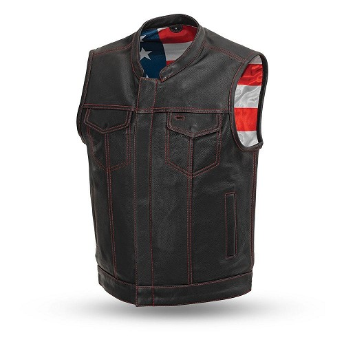 Born Free Mens Motorcycle Leather Club Vest - SKU LL-FIM684CDM-FM