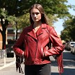 Daisy - Women's Leather Motorcycle Jacket With Fringe - WBL1503