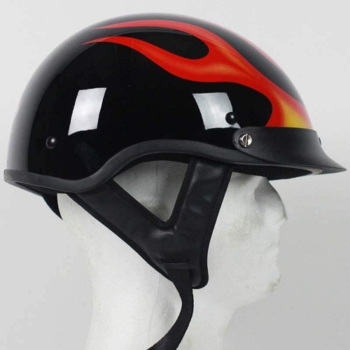 DOT Flame Motorcycle Shorty Helmet / SKU LL-1F-HI