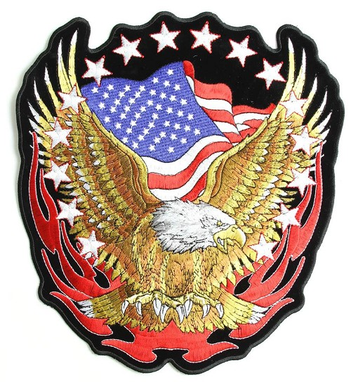 Eagle with American Flag and Stars Vest Patch - SKU LL-PPA1427-HI