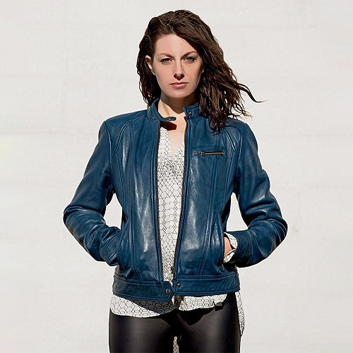 Favorite - Women's Blue - Army Green - Whiskey - Black Leather Jacket - WBL1025