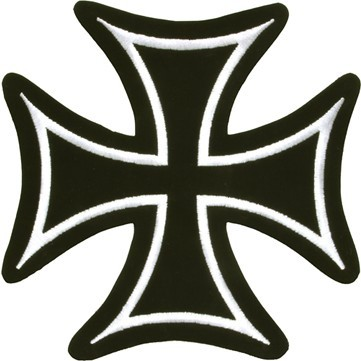 Iron Cross With White Border Patch - SKU LL-PAT-B125-DL