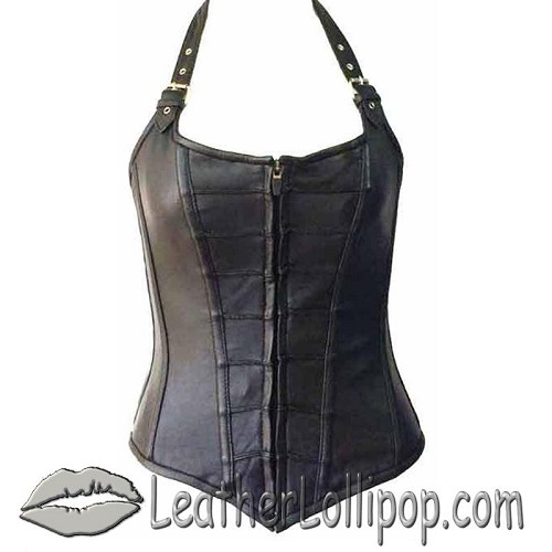 Leather Corset With Zip Front and Removable Halter Straps - SKU LL-VC1316-VL
