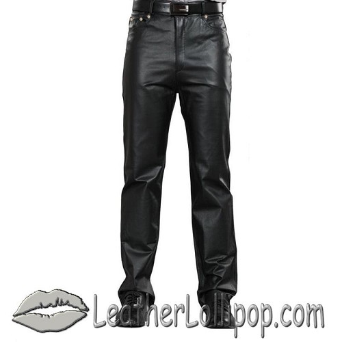 Mens 5 Pocket Leather Pants - SKU LL-AL2500-AL