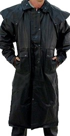 Mens Black Premium Buffalo Leather Duster Coat - SKU LL-AL2600-AL