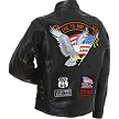 Mens Diamond Plate Patchwork Leather Motorcycle Jacket With Patches - SKU LL-GFCRLTRS-BN