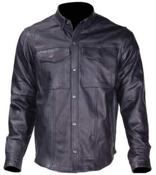 Mens Light Weight Leather Shirt For Summer Motorcycle Riding - SKU LL-MJ777-11L-DL