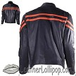 Mens Motorcycle Racer Jacket with Orange Stripe - SKU LL-MJ779-ORG-DL